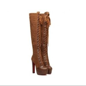 Vintage Women's Over The Knee Boots with Lace-up